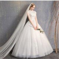 2019 Fashion Styles Women Wedding dress Floor Length Vintage Applique Women Bridal Gown