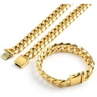 OUMI 18k Gold Chain 316L/304 Stainless Steel Gold Plated Flat Clasp Cuban Link Chain Necklace Jewelry Set