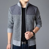 2019 stylish long sleeve man thick knitwear cardigan zip up open front casual warm business winter fur coat jacket wholesale