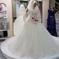 2018 Arab Hijab Muslim Wedding Dress Long Sleeve Saudi Arabian Wedding Gown Muslim Plus Size Lace Long Train Bridal Dress