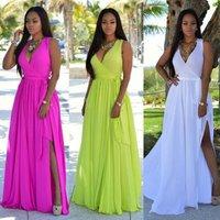 Wholesale Sexy Maxi Halter Sleeveless Chiffon Big Size Women Summer Evening Party Long Dress