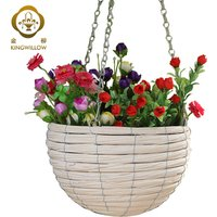 Handmade white hanging flower pots with plastic liners for garden to sale