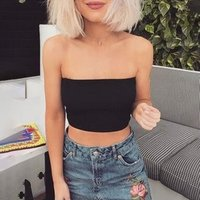 Black off the shoulder crop top t-shirt women clothes knitted tops 7803
