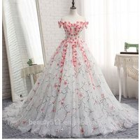 Astergarden pink flower bridal gown Capped sleeve ruffle A-line wedding dress TS217