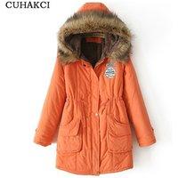 CUHAKCI Women Winter Jacket Fashion Thick Real Fur Collar Loose Hood Coat 2017 Slim Warm Fur Jacket Lined Parka For Female