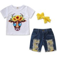 2019 summer new girls cotton flower cow t shirts + hole denim shorts set outwear childrens suit cute kids casual clothing