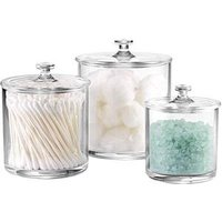 Premium Acrylic Apothecary Jars Set of 3   Crystal Clear Plastic Storage Canisters with Lids   Bathroom, Kitchen, Laundry, Craft