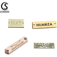USA standard environmental custom brand name engraved clothing metal logo labels for coat/swimwear
