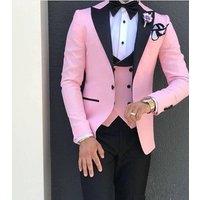 3 Piece(Jacket Vest Pant) Pink Men Suit Set Wedding Groom Prom Dress Slim Fitted suit Tuxedo