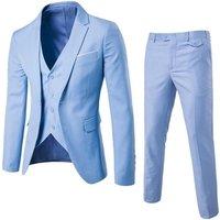 Quick Shipping Breathable Plus Size One Button 3 Piece Slim Fit Coat Pant Men Suit