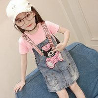 2019 Summer Kids Clothing Baby Girls Suspender Dresses Clothes Short Sleeve T-shirt+Denim Overalls Dresses 2pcs Suit