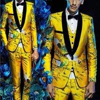 Men Suits Yellow Floral Blazers Slim Fit Groom Wedding Prom Singer Stage Costume Business Male Tuxedo Set (Jacket+Pants+Vest)