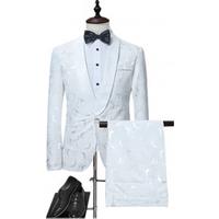 Hot Style Men Suit Slim Fit Casual White One Button  Suit Large Size Coat Pant Men Suit