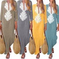 Womens Dresses Boho Style Spring Autumn Cotton Linen Dress Long Sleeve Deep V Neck Loose Vintage Print Ethnic Clothing EFC330