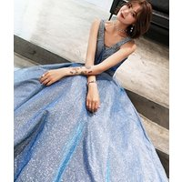 Dancing queen prom evening dress elegant tropical V neck beading unique mature blue shiny evening dresses