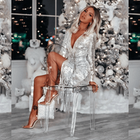 Christmas hot sell silver tassel sequin boutique dress wholesale instock A2617