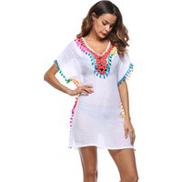 women fashion sexy hand-hook blouse with large size colored lantern fringe hollowed-out dress for summer