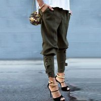 Large Size 4xl 5xl Fashion Womens High Waist Skinny Harem Pants Pants Ripped Chic Ankle-tied Pants Slim Casual Stretch Trousers