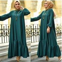 Long Sleeve Simple Clothes Elegant Robe Turkish Online Muslim Dress Kaftan  Dubai Women Abaya
