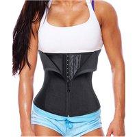 Women Plus Size Latex Waist Trainer Corset Zipper Underbust Cincher Belt Weight Loss Body Shaper Tummy Control Training Slimming