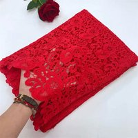 Newest African Party Fashion Red Dress Guipure Cotton Lace HFX Nigeria Cord Embroidery Lace Fabric
