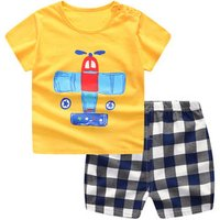 BKD summer boys cloth sets baby boy t-shirt+pants suit