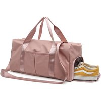 Pink Nylon Independent Shoes Room Custom Sports Gym Bag with Wet Shoes Room