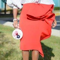 2019 Women Pencil Skirt High Waist Ruffles Slim Classy Female Package Hip Tight Jupes Falad Officewear Elegant Femme New Fashion