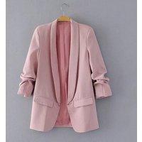 Women Spring Blazer Pink Green Three Quarter Sleeve Casual Korean Style Jacket Elegant Office Ladies Business Blazer Y10611