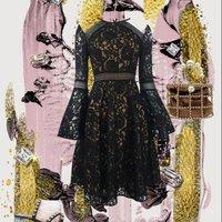 2019 Summer Black openwork mesh lace trumpet sleeves slim dress