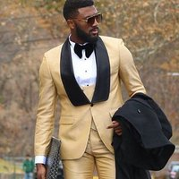 2019 Custom Male Clothes Business Suit Costume Slim fit Casual Design Champagne Prom Suits Groom Tuxedos For Men Wedding Suit