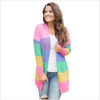 Rainbow Ladies Striped Sweater Cotton Winter Women Sweater Cardigan