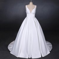 Elegant Deep V Neck Backless Sheer Real Image Simple Wedding Dresses Ruffled Satin Bridal Gowns