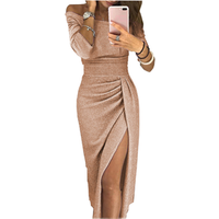 Women Fashion Off Shoulder Party Dresses High Slit Bodycon Evening Long Sleeve Plus size Dress