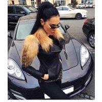New winter fashion beading celebrity evening party runway leather jacket women