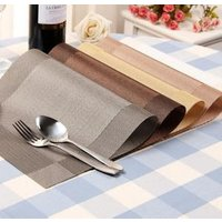 Placemats Washable PVC Dining Table Mats Heat Resistant Sustainable Woven Vinyl Place Mats for Kitchen Table Set of 5 Colors
