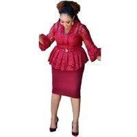Formal V Neck Ruffle Lace Drape Pencil Office Dress Plus Size Women Flare Sleeve Knee Length Pencil Dress Bodycon Y10975