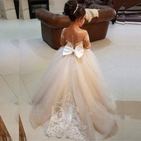 Puffy big size appliqued lace ball gown Sheer Neck Long Sleeves Appliques kids wedding flower girl dresses MFA295