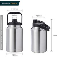 64oz 128oz 1 Gallon  Stainless Steel Big Water Bottle Beer Wine Thermal Jug Insulated 128 oz Growler Keg Manufacturer
