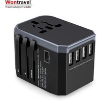 2019 Wontravel new product 5600mA usb quick charger electrical plug socket Type C universal travel adapter