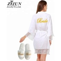 New colors Personalized Wedding Robe women sleeping Bridesmaid mother cotton Lace  Bride Robes