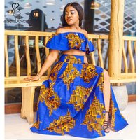 2019 Unique Design African Custom Wax Print Off Shoulder Top with Maxi Skirt Ankara Fashion Women 2 Pieces