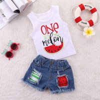 Toddler Girl Summer Cotton White Letters Tank Top and Distressed Jean Shorts Kids Outfit Set Summer Baby Clothing Set