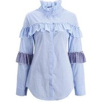 Women Blue Plaid Blouse Patchwork Shirts Long Sleeve Casual Fashion Ruffled Autumn Blouses Tops Blusas New 2019 Girls Clothing