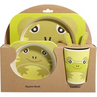 Bamboo fiber children s tableware four - cell plate baby cartoon rice bowl baby bowl spoon fork suit