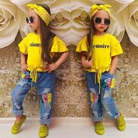 2019 Kid Cloth Girls Baby Wholesale Boutique Children Summer Outfit Little child Casual Wear Girl Clothing Set