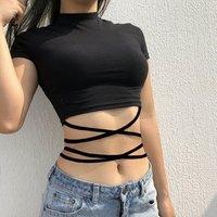2018 Summer Crop Tops Blusa Women Short sleeve  Sexy Bandage T Shirt Top Fashion Black Lace Up Tank Top  Ladies