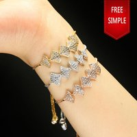 Free simple fashion jewelry bracelet new design 18k rose gold plated zircon bracelet bangle woman