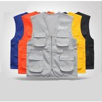 Fashion Polyester Customized Logo Advertising Vest Multi Pocket Waistcoat With Custom Logo