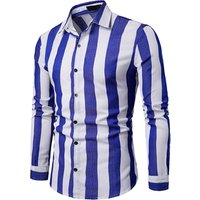 2019 spring business casual mens blue striped long dress shirt
